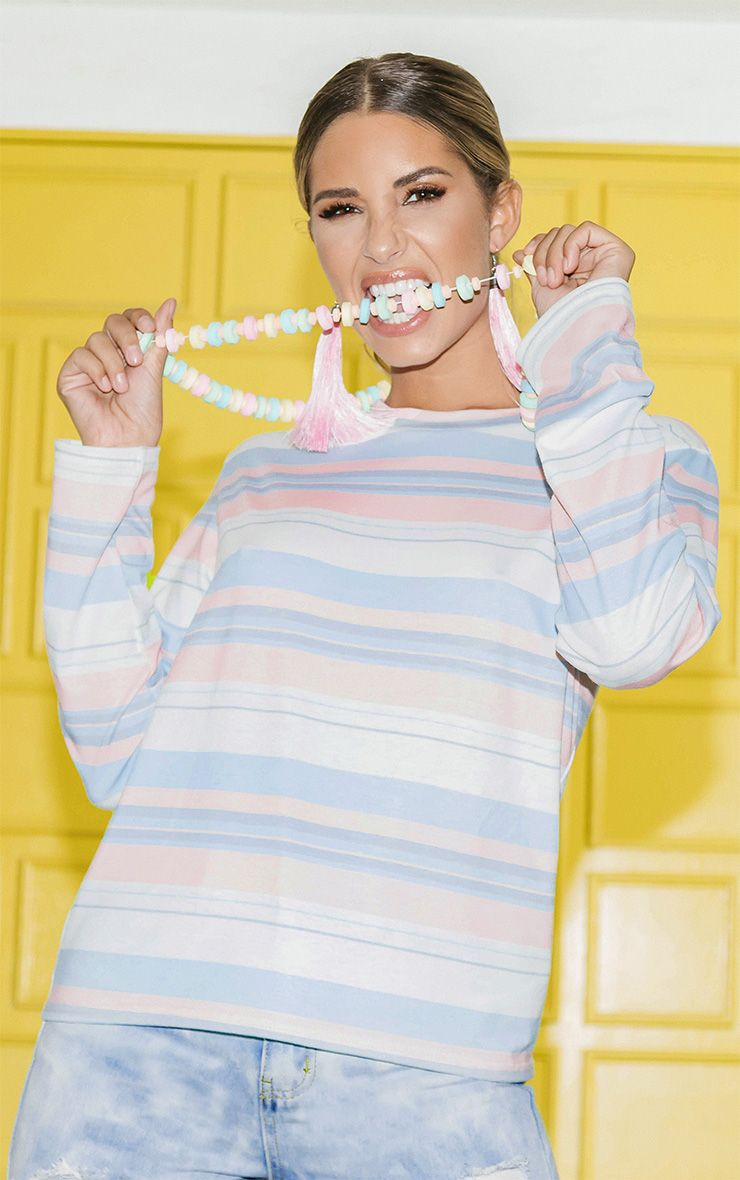 Pastel Pink Stripe Long Sleeve Top