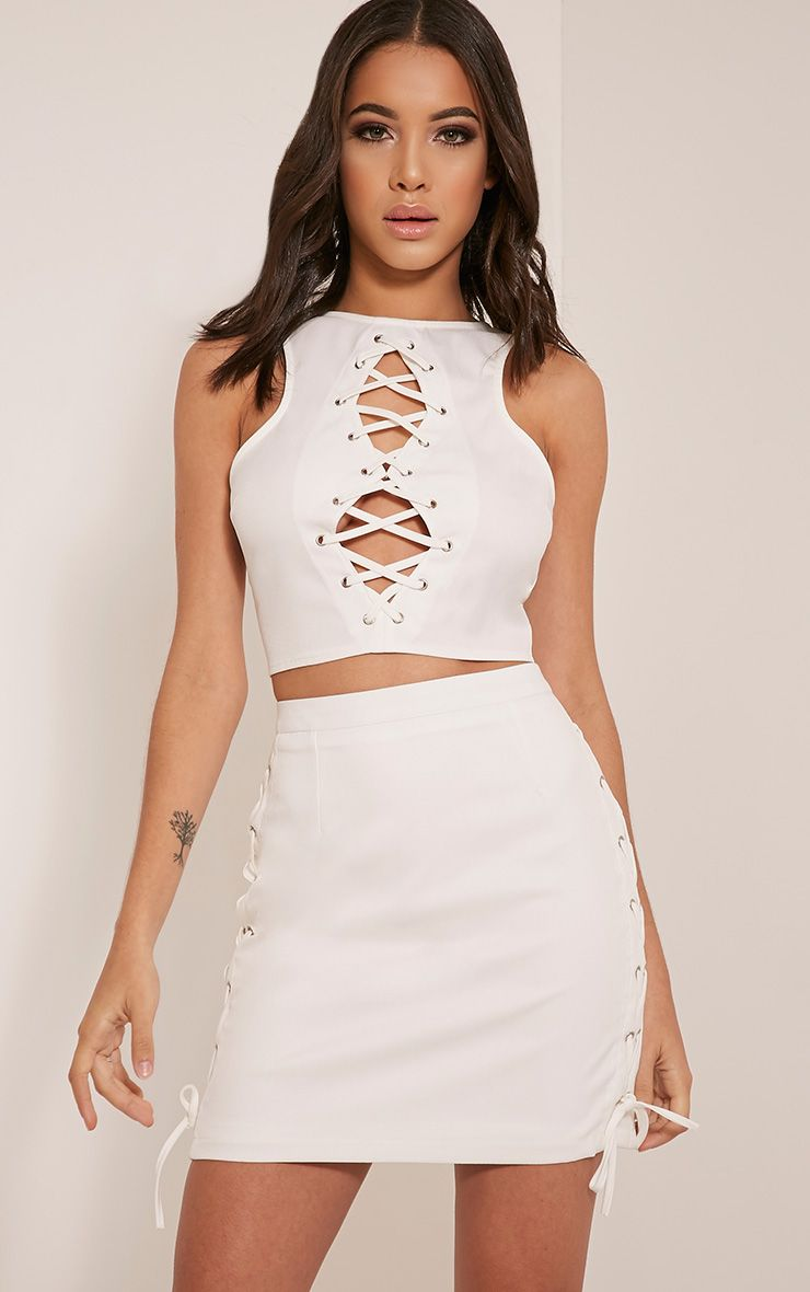 Zoya White Lace Up Side Mini Skirt 1