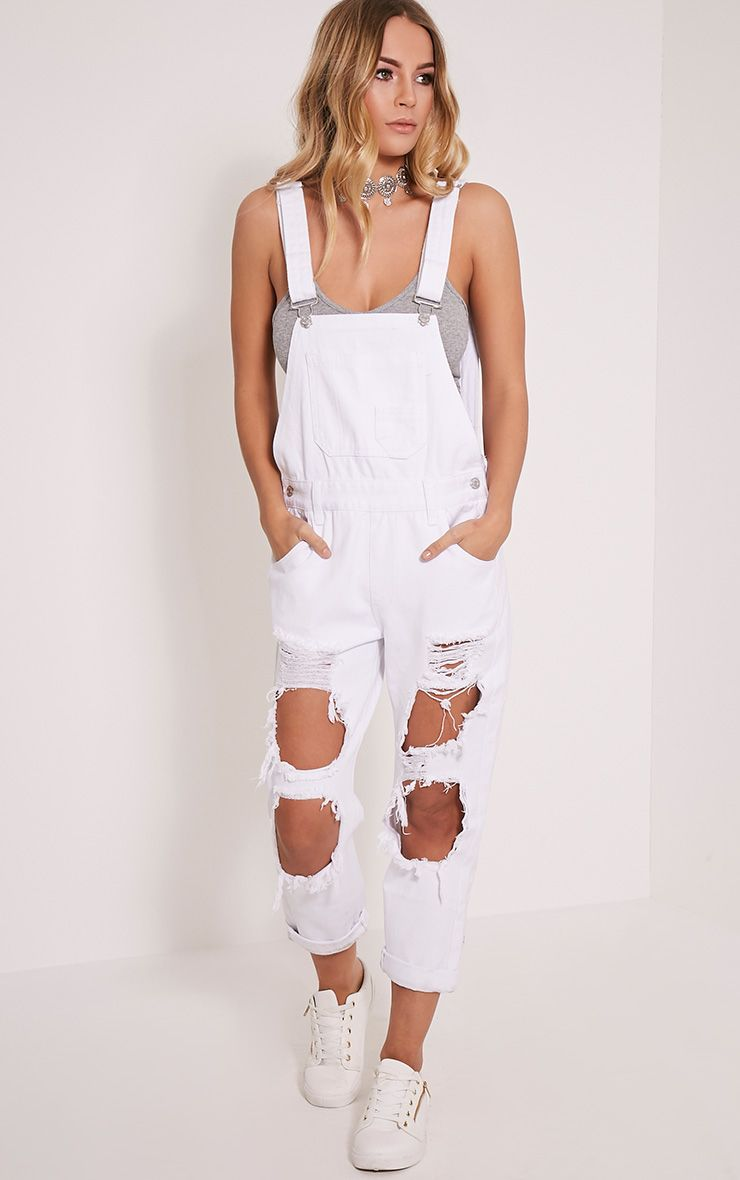 Carla White Extreme Rip Cropped Denim Dungarees 1