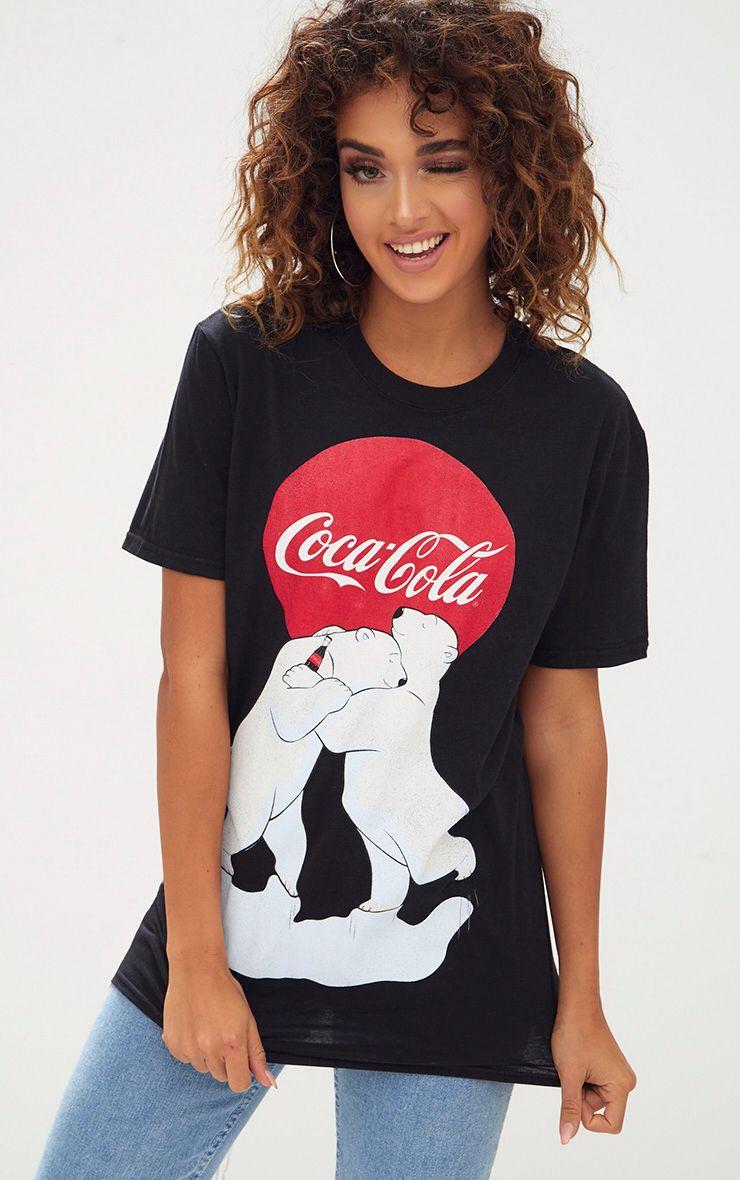 Black Coca Cola License Polarbear Christmas Slogan T Shirt 1