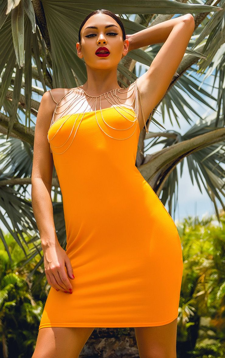 Lorrie Bright Orange Bandeau Bodycon Dress 1