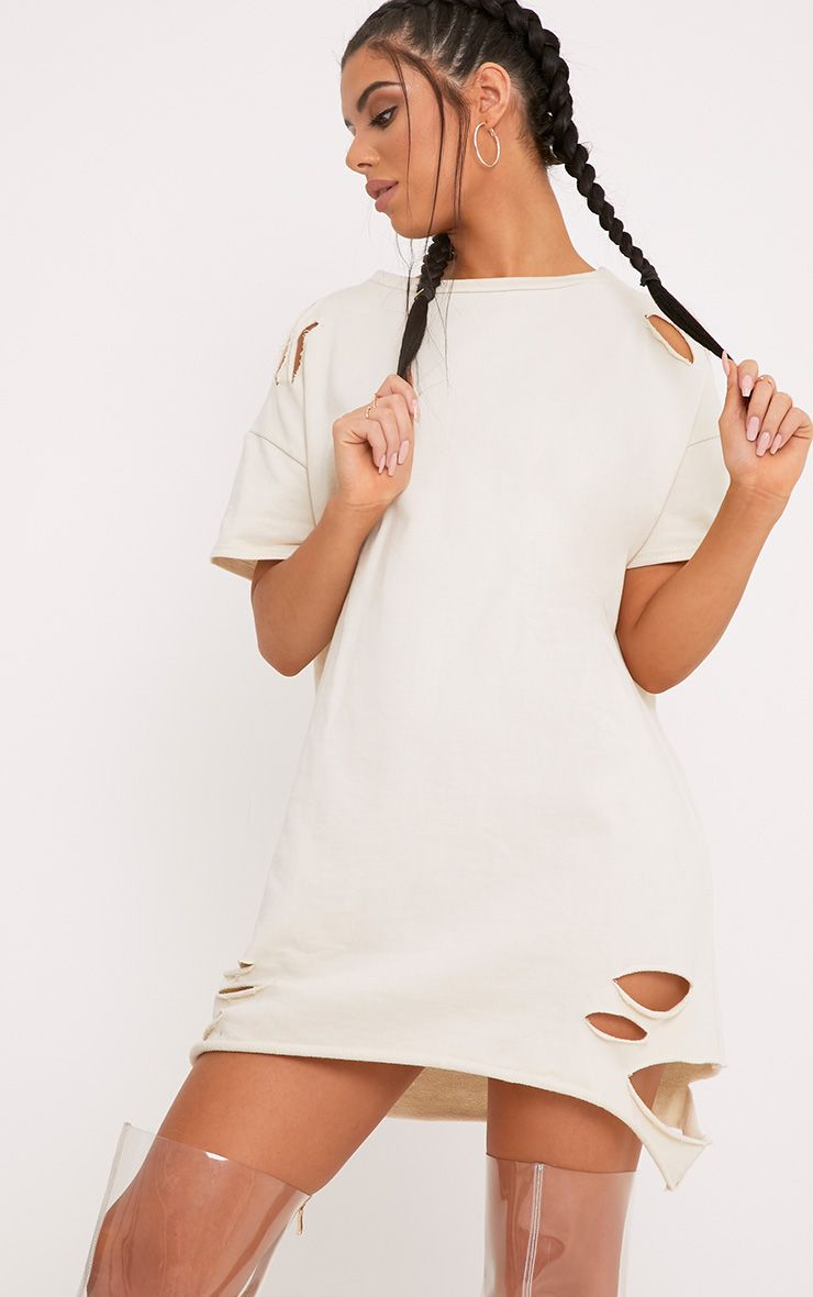 Orla Stone Distressed Short Sleeve Sweater Dress