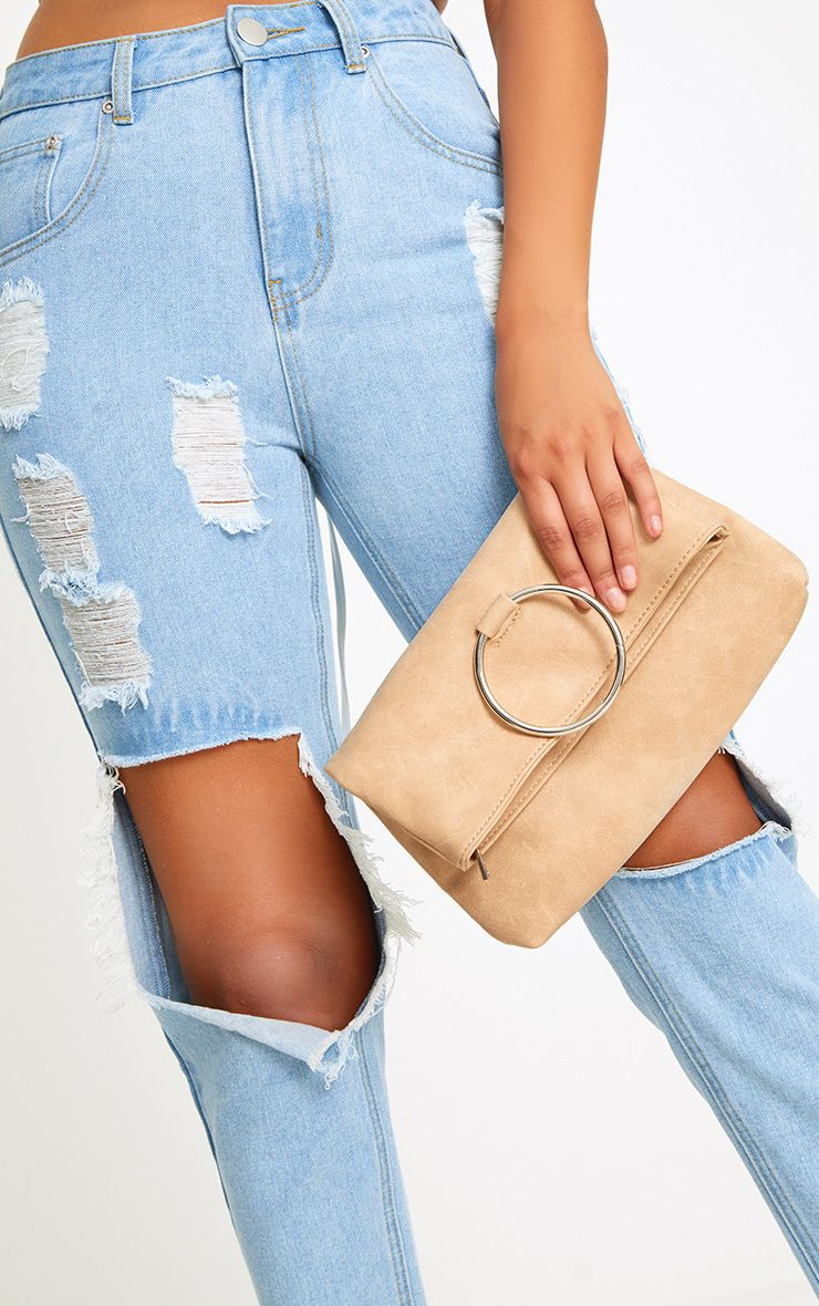 Nude Large Ring Clutch Bag