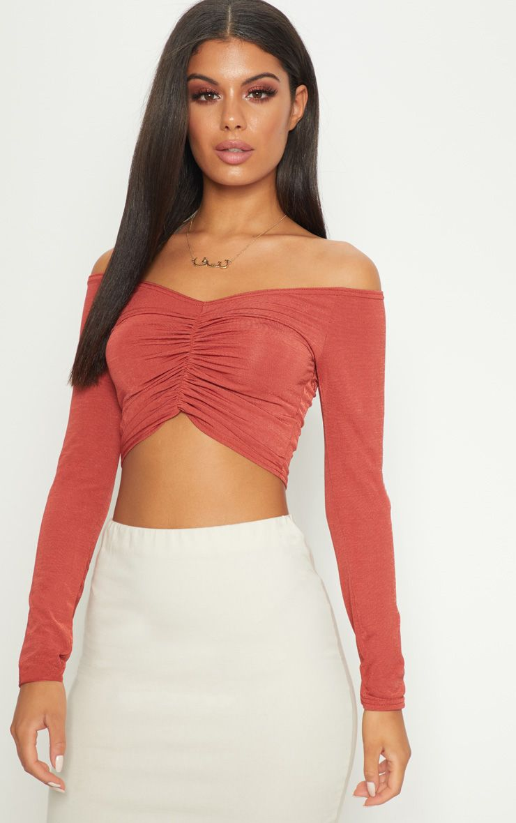 Huge Surprise Online 2018 Discount  PRETTYLITTLETHING Spice Slinky Ruched Front Long Sleeve Crop Top jyMN8G