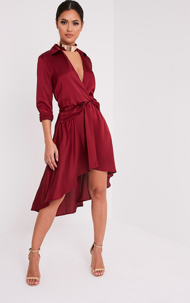 Gabbie Burgundy Silky Wrap Over Midi Dress  1