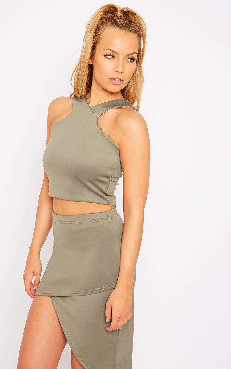 Tiff Khaki Cross Front Scuba Top 1