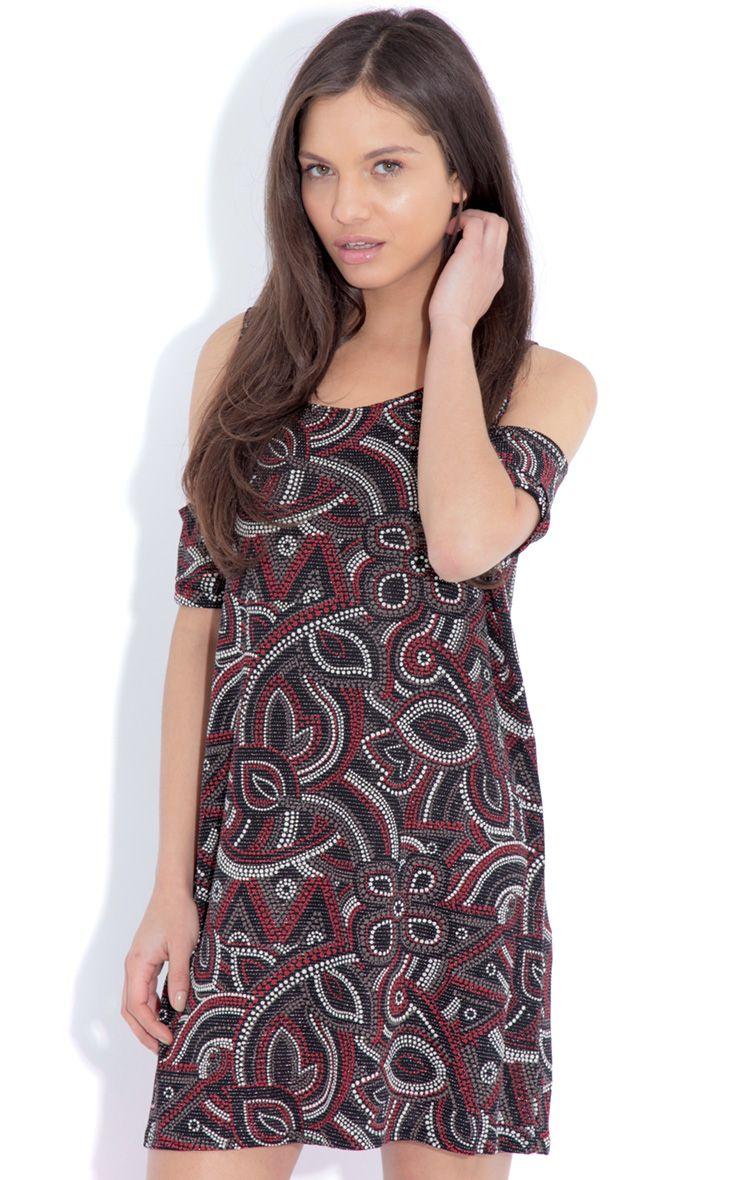 Rita Black Paisley Print Cut Out Dress 1