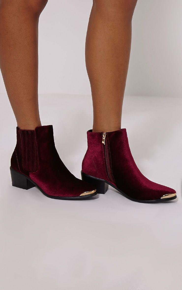 Roxey Burgundy Velvet Metal Toe Cap Boots 1