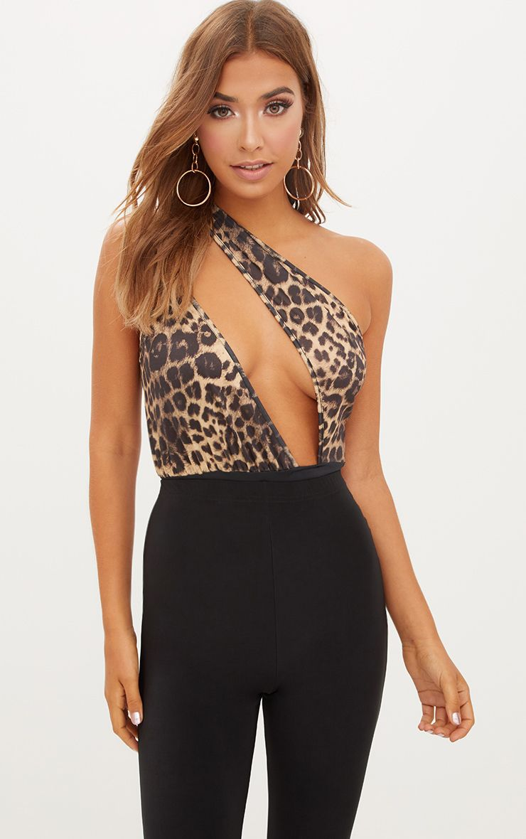 Tan Slinky Leopard Print One Shoulder Thong Bodysuit