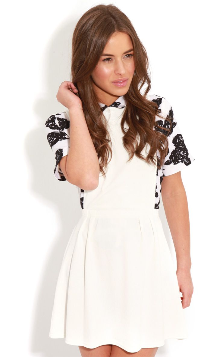 Andrea White Pinafore Skater Dress 1