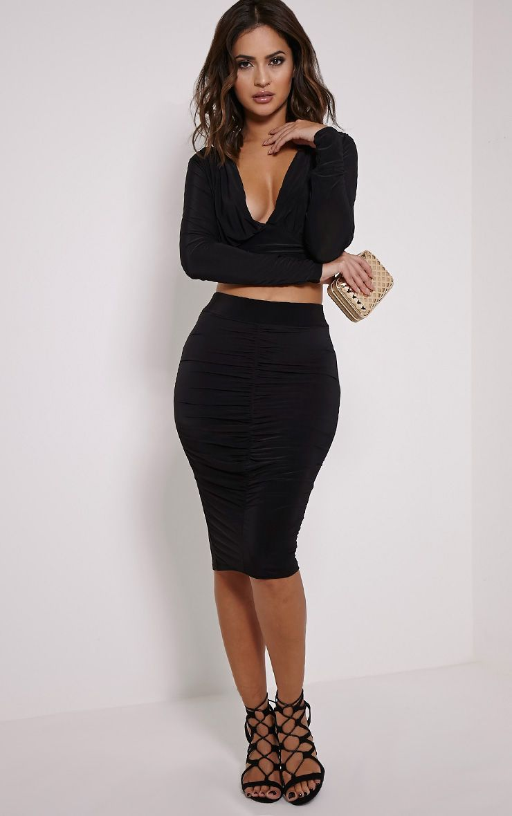 Nicole Black Slinky Ruched Midi Skirt