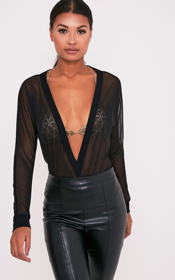 Yulia Black Mesh Plunge Jersey Thong Bodysuit