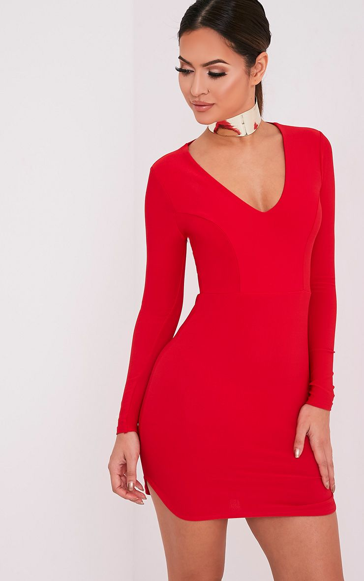 Shylo Red Long Sleeve Plunge Bodycon Dress 1