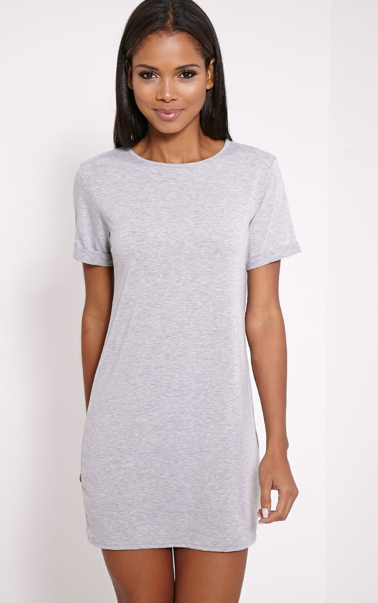 Basic Marl Grey Boyfriend Jersey T-Shirt Dress 1