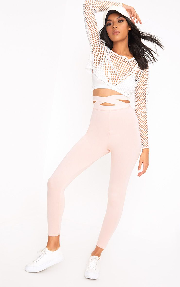 Nude Strappy Waist Leggings