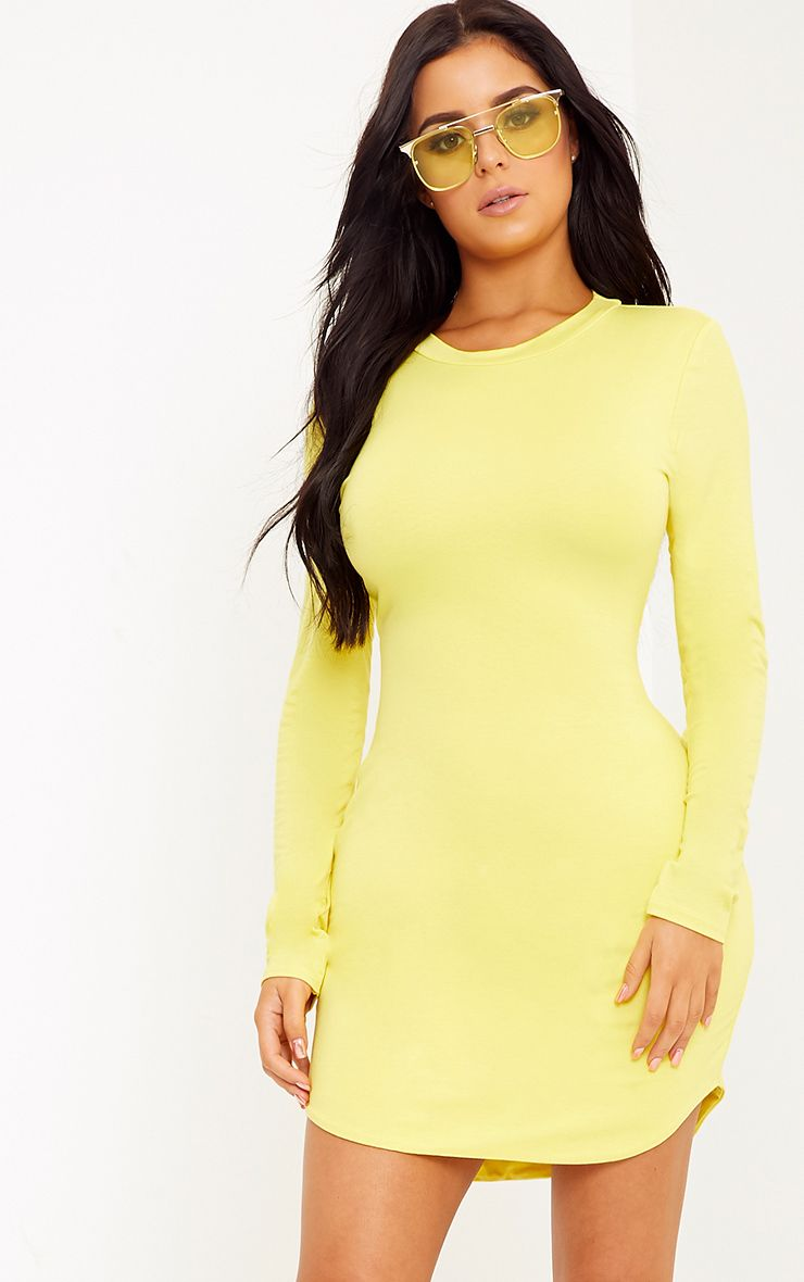 Shape Dionne Yellow Jersey Curve Hem Mini Dress