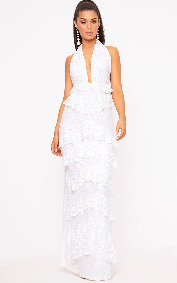White Lace Frill Detail Maxi Dress