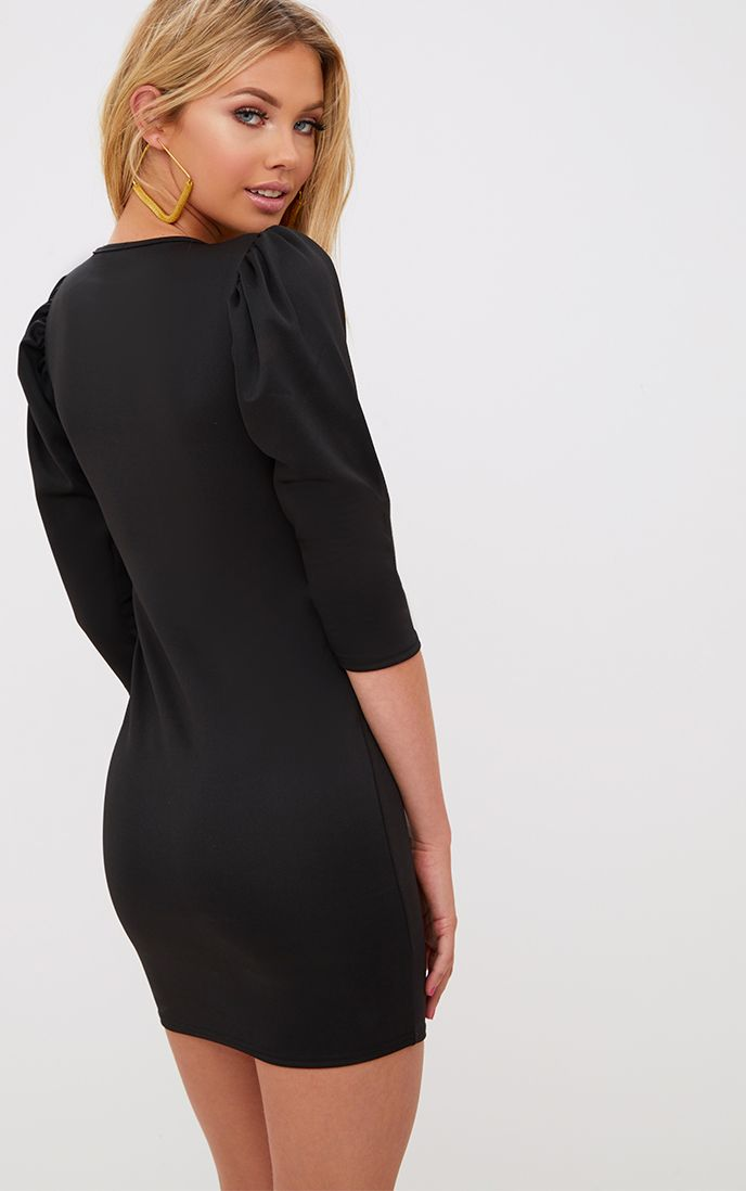 Black Puff Detail 3/4 Sleeve Bodycon Dress