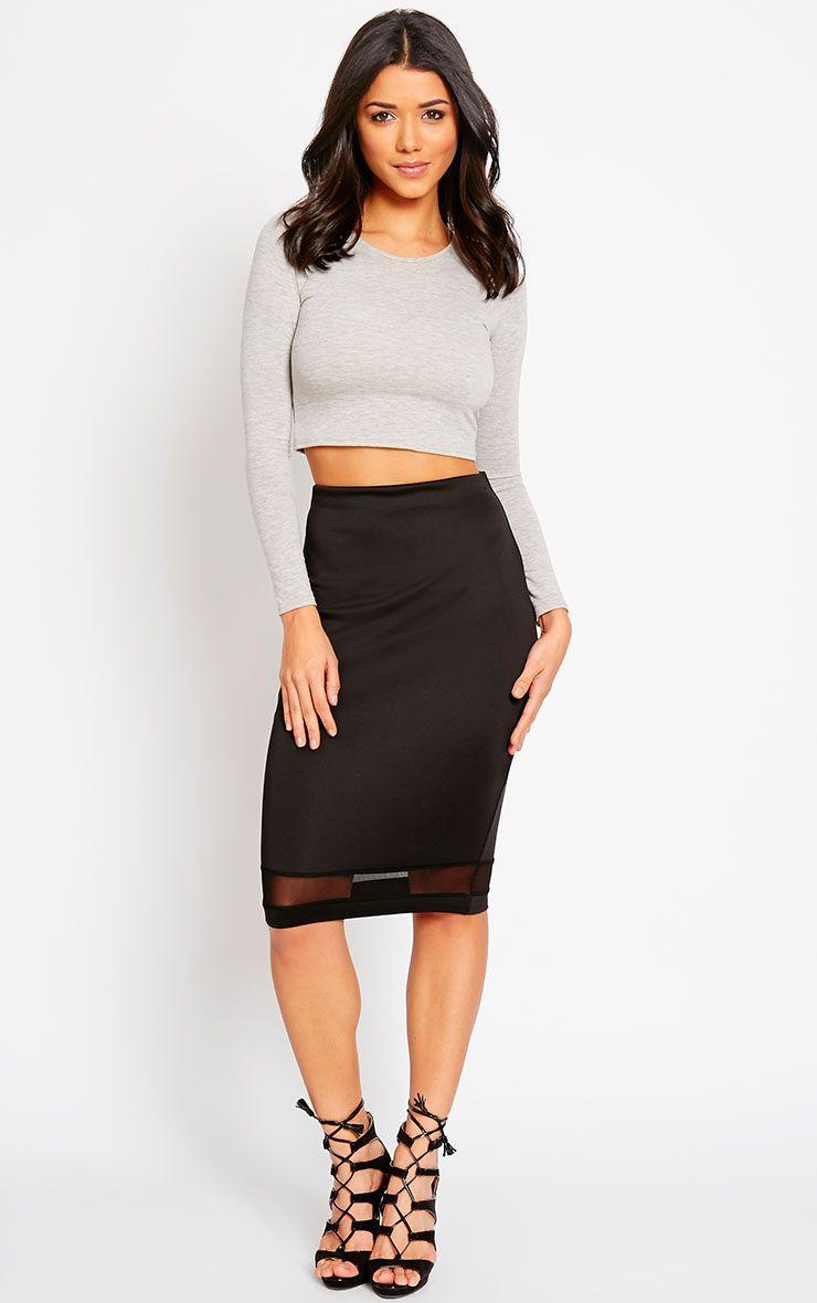 Tameka Black Scuba Mesh Midi Skirt 1