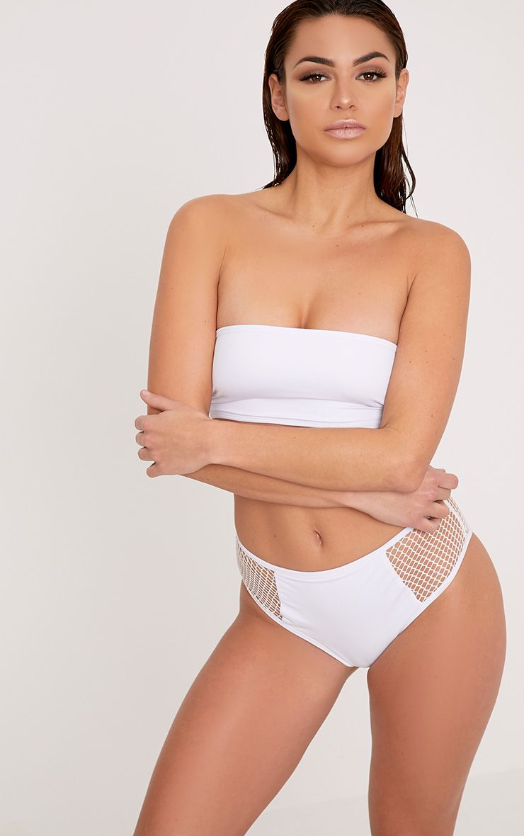 Billie White Mesh Side High Waisted Bikini Bottoms