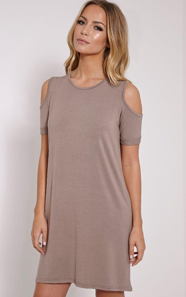 Basic Mink Cut Out Shoulder Dress 1