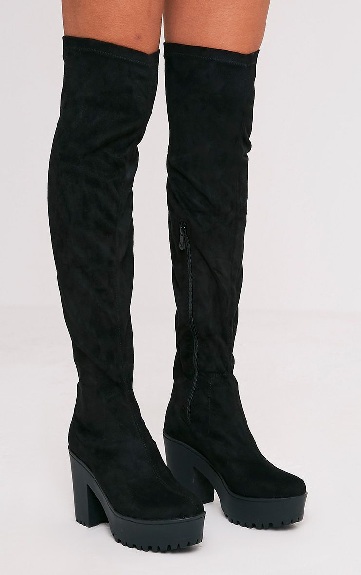 Teresa Black Cleated Platform Over the Knee Boot
