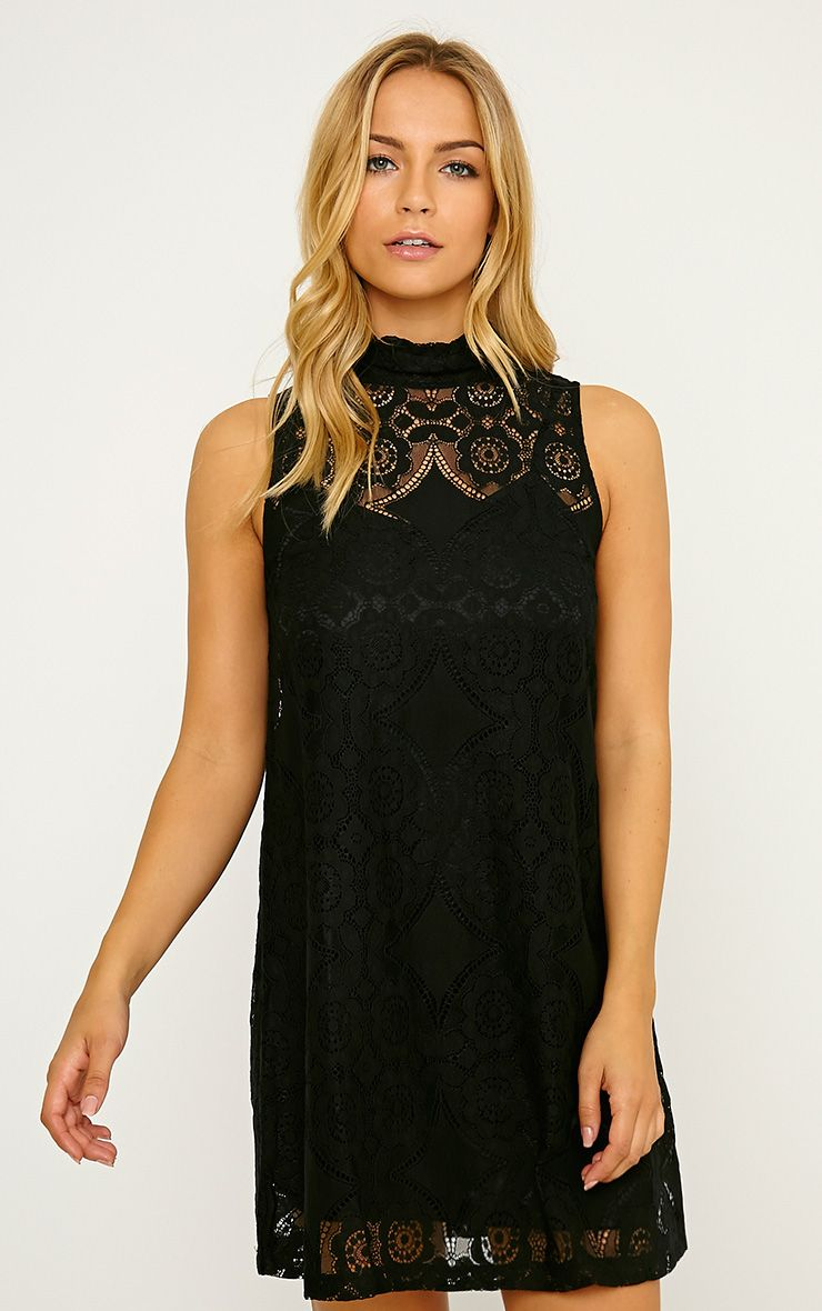 Kelsey Black Lace Shift Dress 1