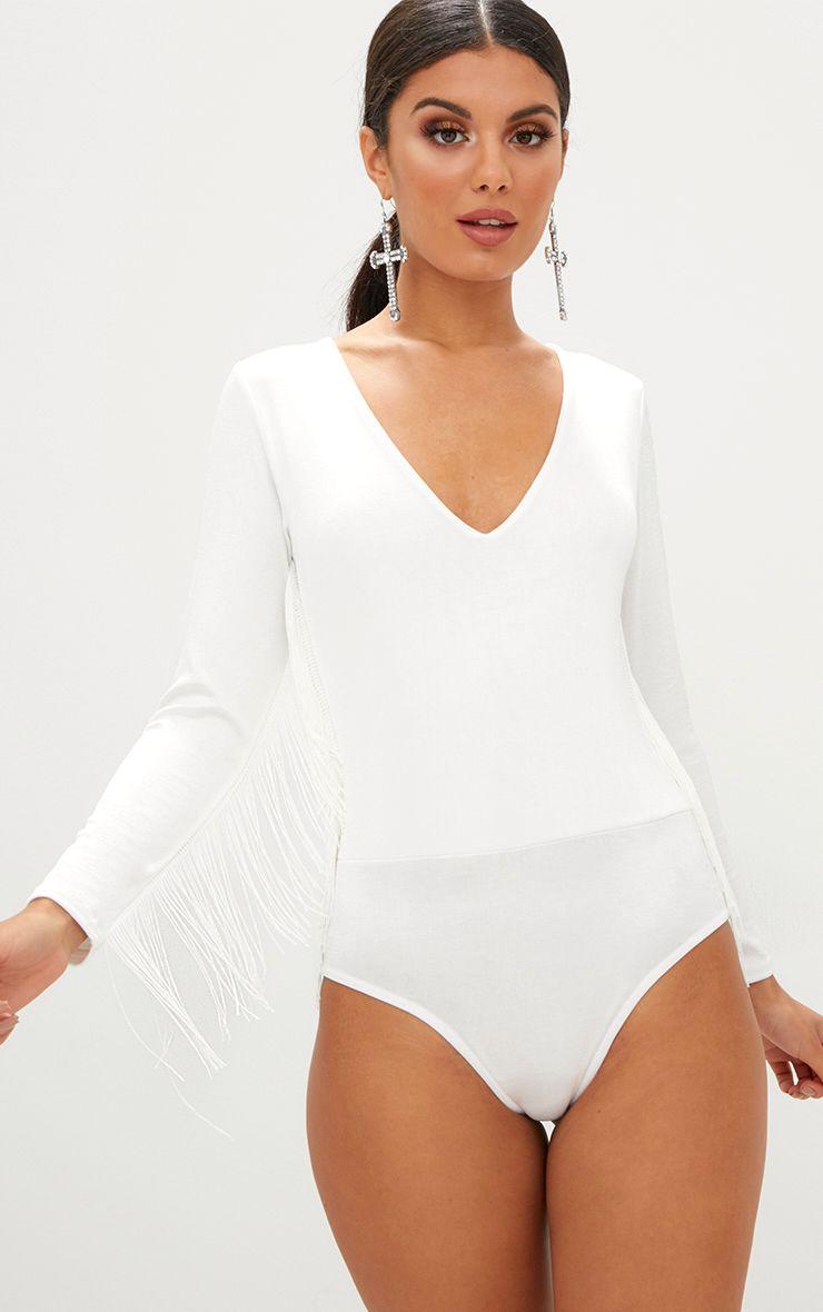 Cream Shimmer Slinky Fringe Detail Plunge Thong Bodysuit