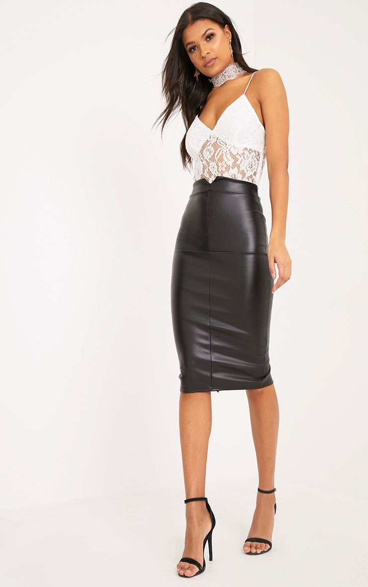 Eva Black Faux Leather Panel Midi Skirt