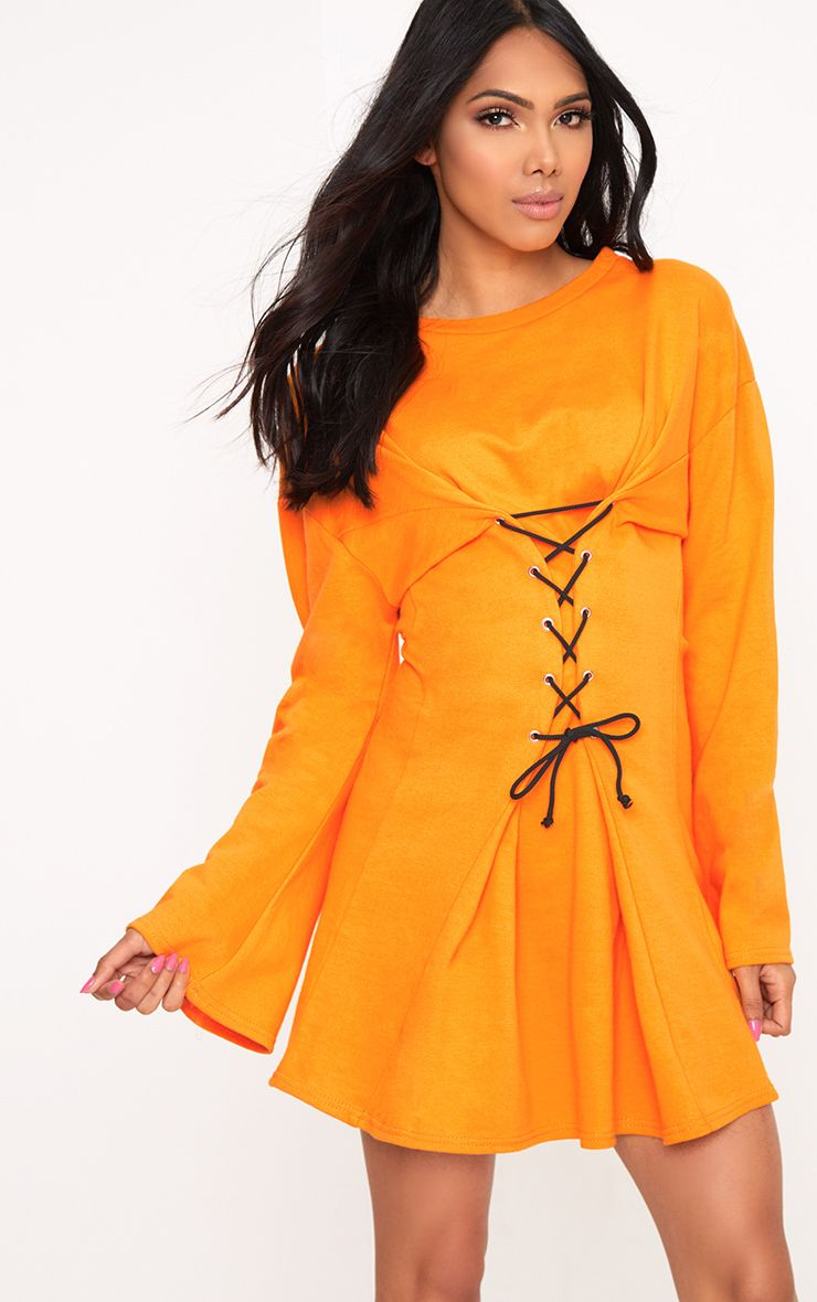 Orange Loop Back Flared Sleeve Corset Detail Sweater Dress