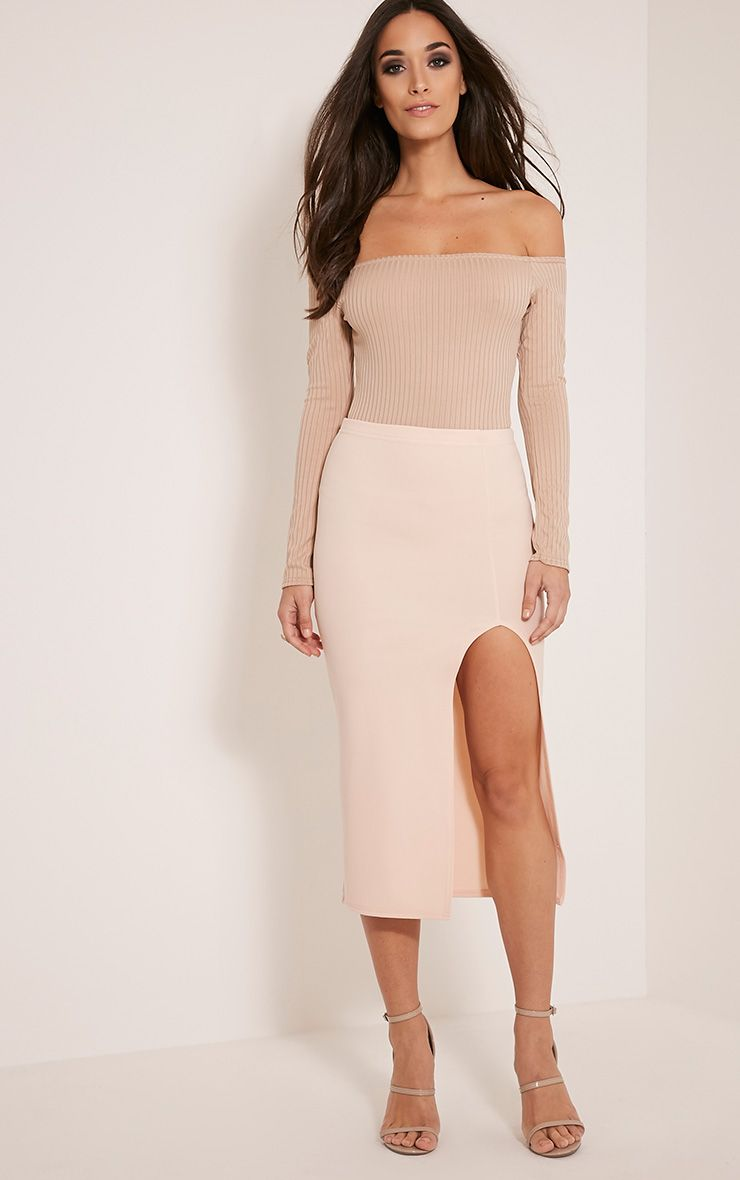 Salia Blush High Split Midi Skirt 1