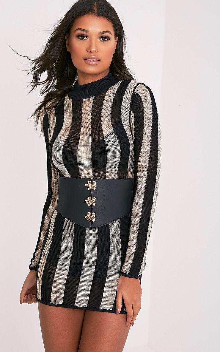 Amias robe mini noir métallisé extra-fine à rayures