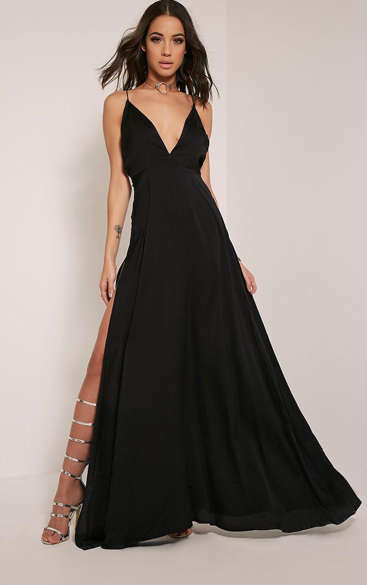 Beccie Black Extreme Split Strappy Back Maxi Dress 1