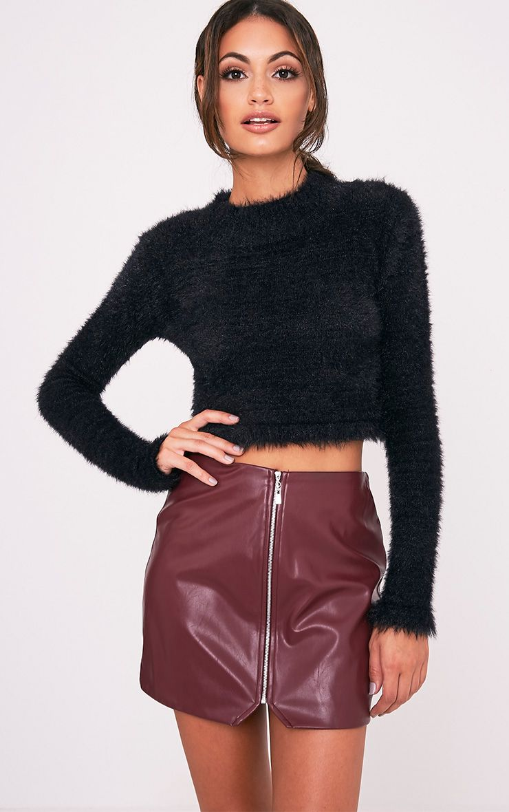 Suzy Burgundy Faux Leather Zip Front Mini Skirt 1
