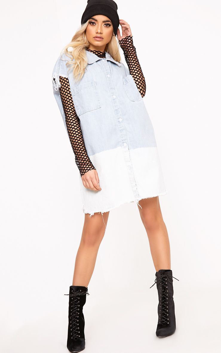 Emmylou Super Light Ombre Oversized Raw Edge Denim Dress