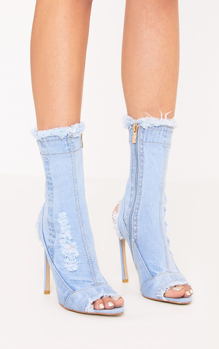 Meganna Light Wash Ripped Denim Cut Out Ankle Boots 1