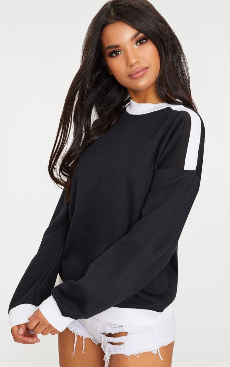 Black Triple Shoulder Stipe Oversized Sweater