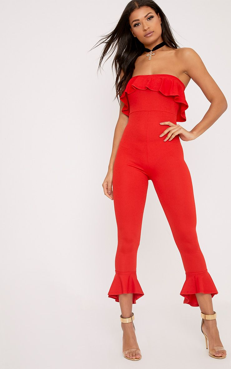 Adalia Red Bardot Frill Hem Leg Jumpsuit