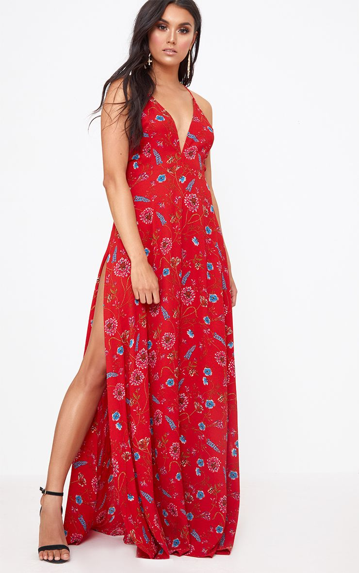 Red Floral Extreme Split Strappy Back Maxi Dress