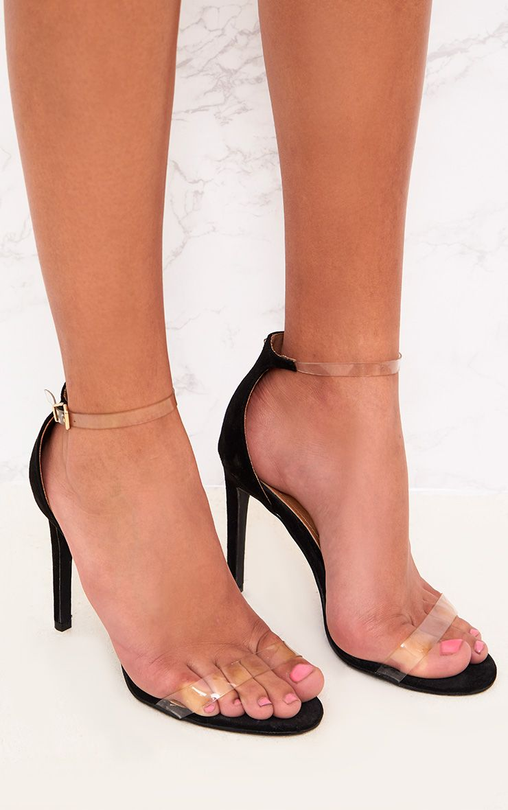 Nikki sandales à talons noires à bride transparente