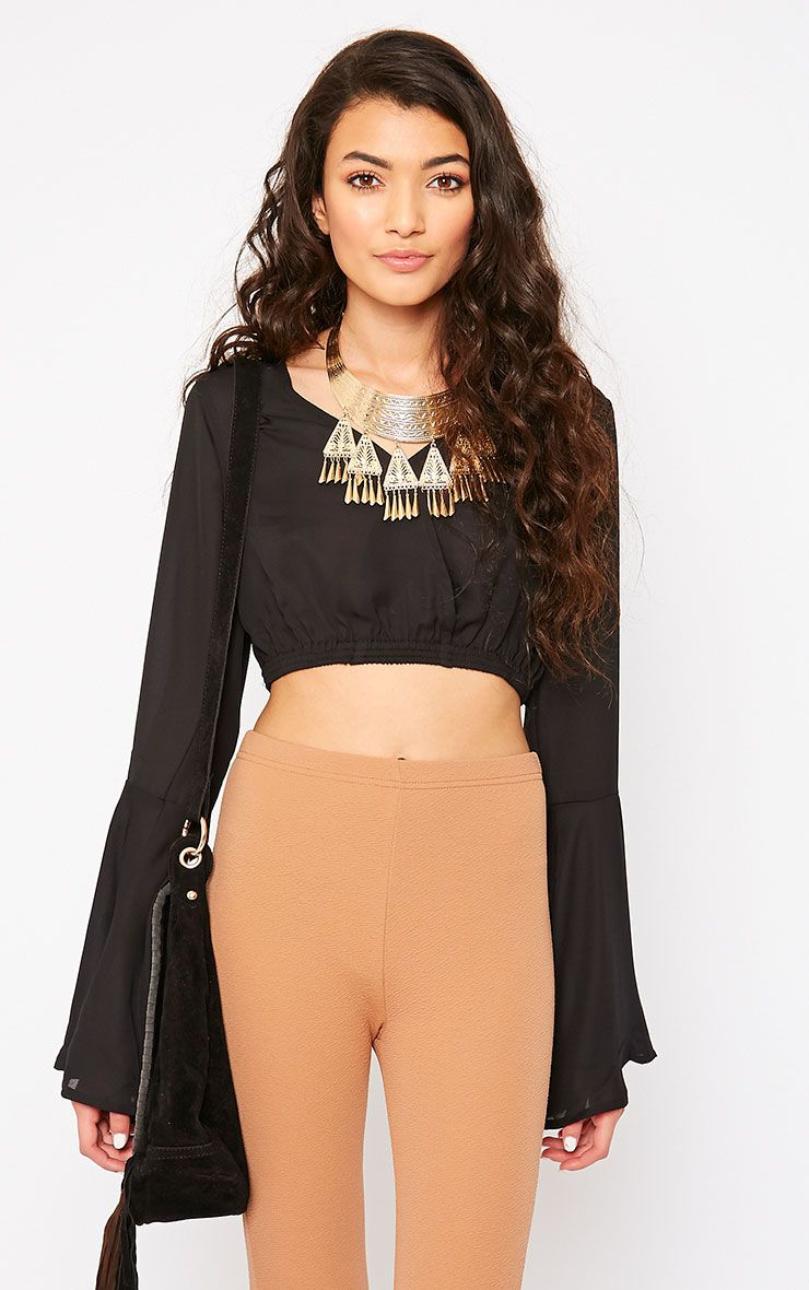 Gem Black Chiffon Bell Sleeve Crop Top 1