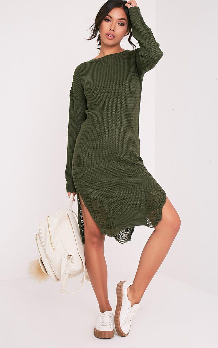Kionae Khaki Frayed  Overesized Knitted Dress 1