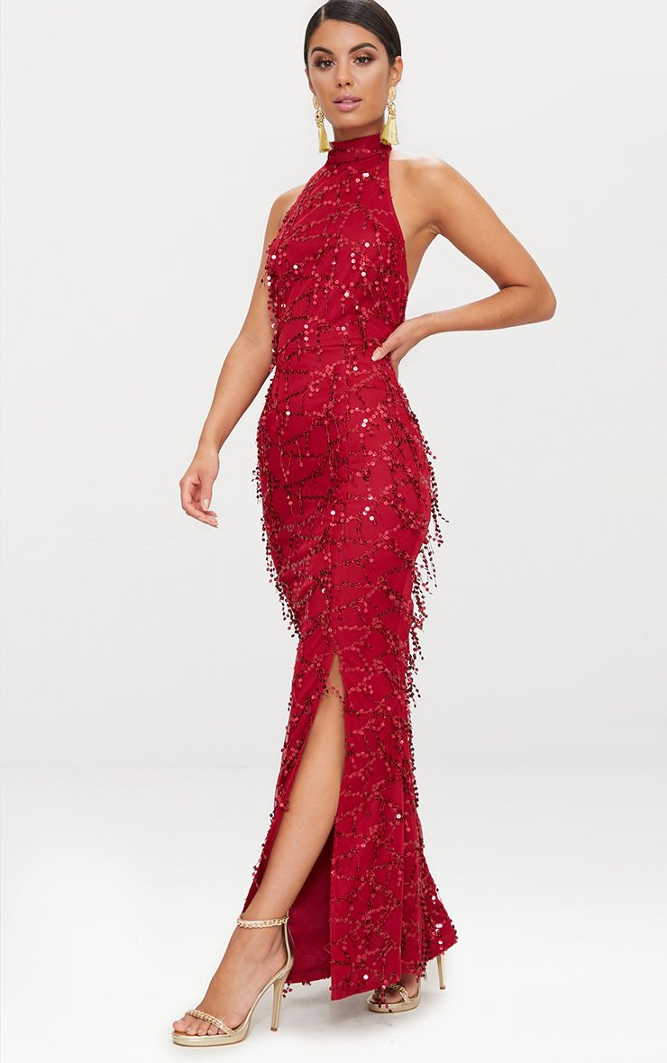 Burgundy Sequin Fishtail Maxi Dress