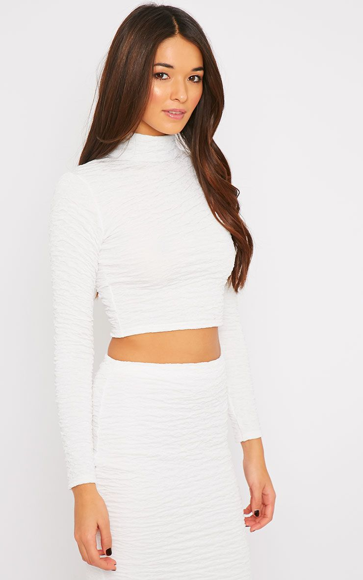 Lilly White Crinkle Turtle Neck Crop Top  1