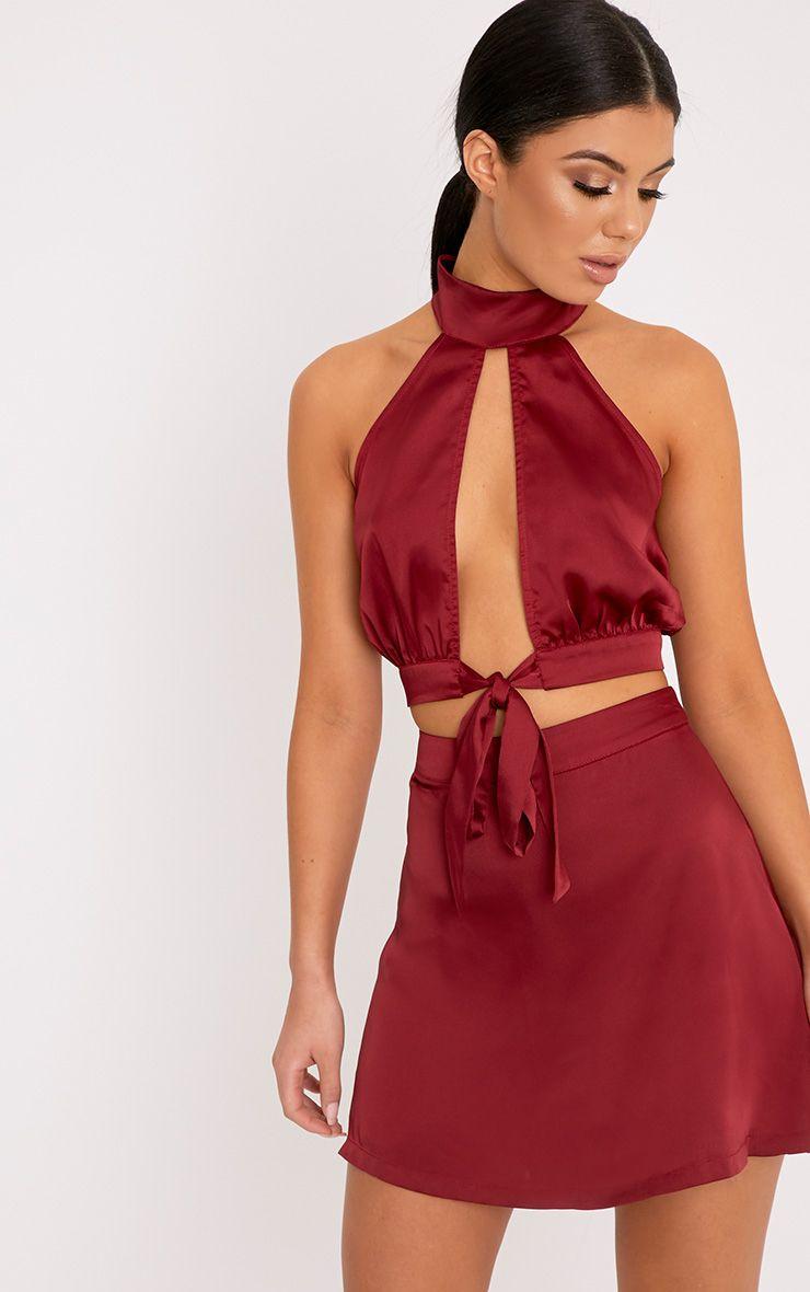 Kallia Burgundy Floaty Satin A Line Mini Skirt