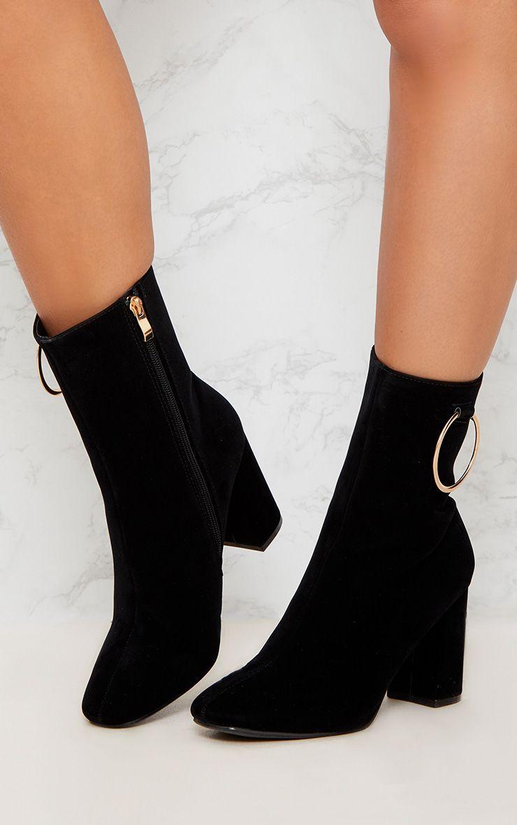 PRETTYLITTLETHING Ring Side Block Heel Boot