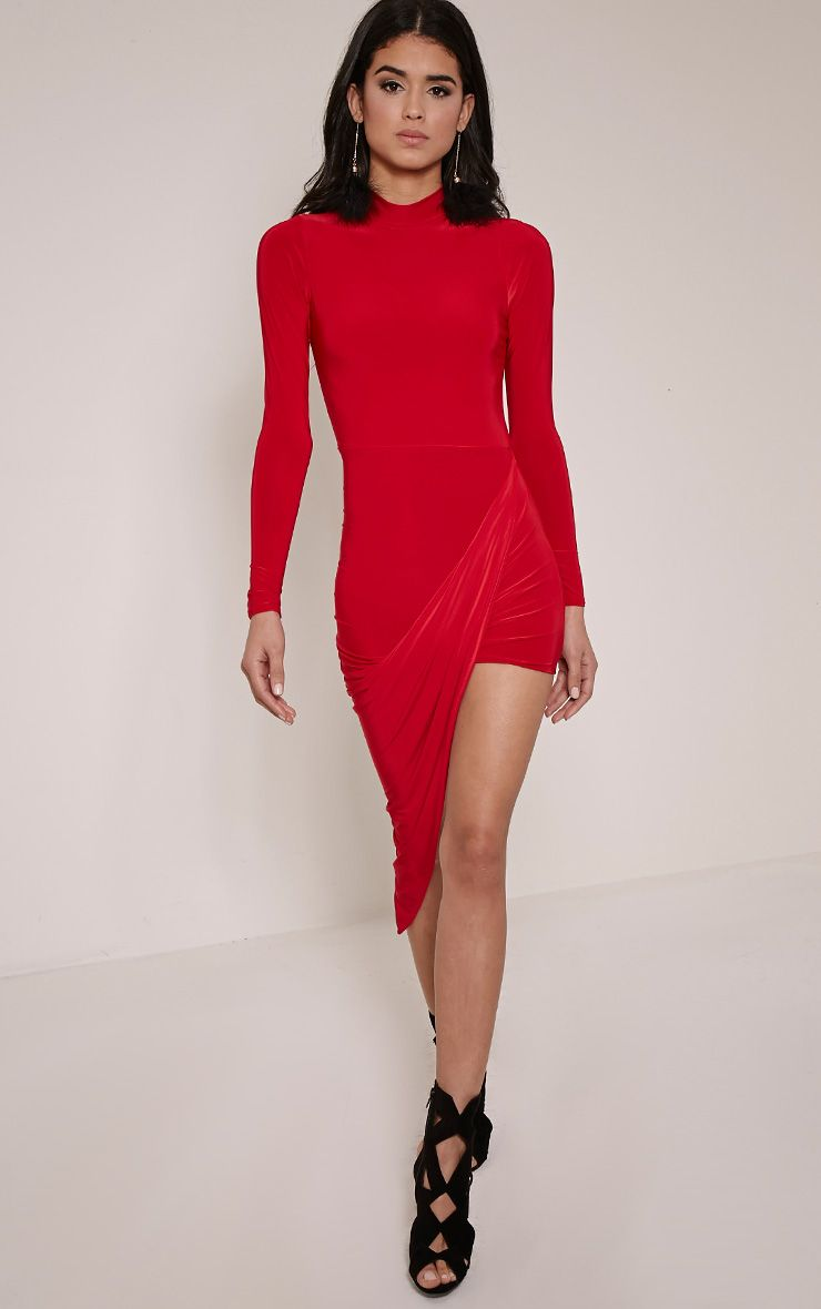 Saffy Red Long Sleeve Drape Dress 1