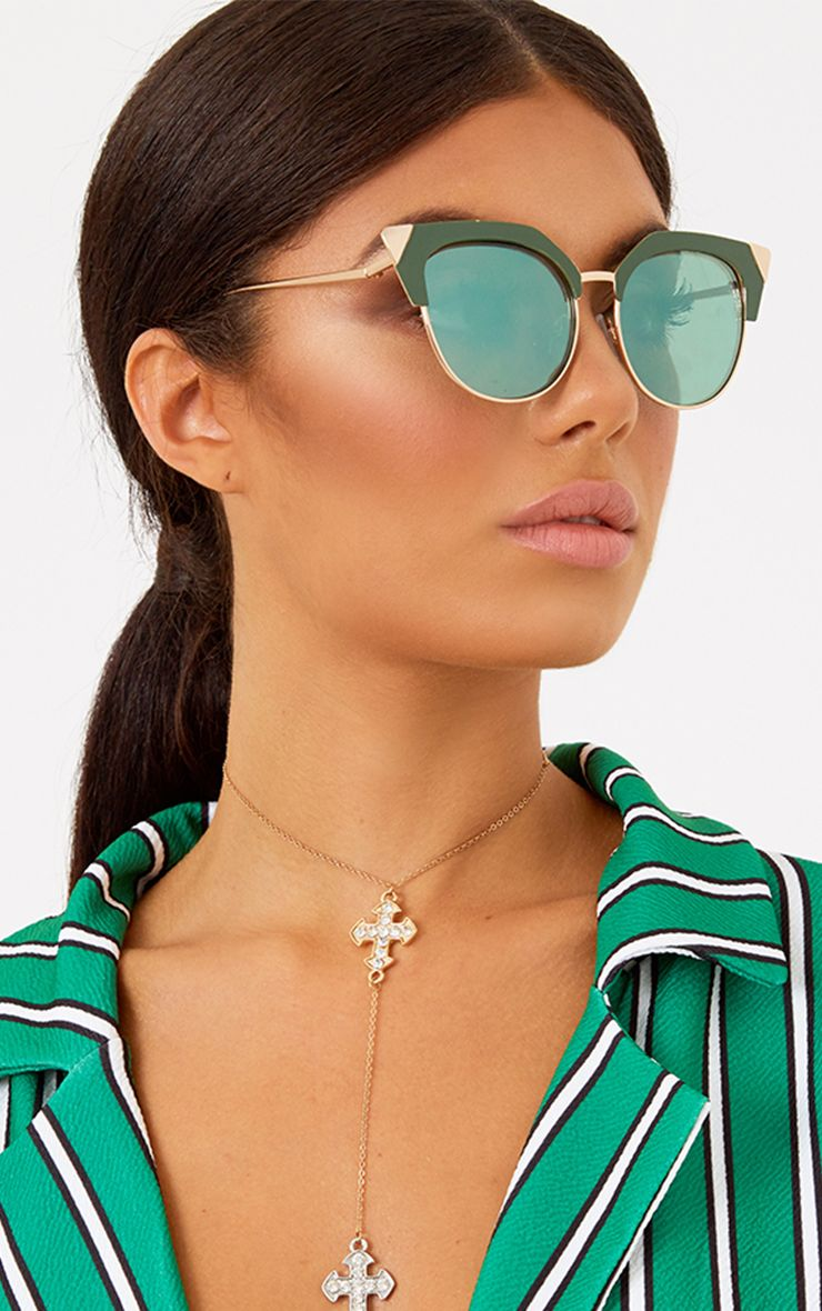 Green Retro Cat Eye Sunglasses