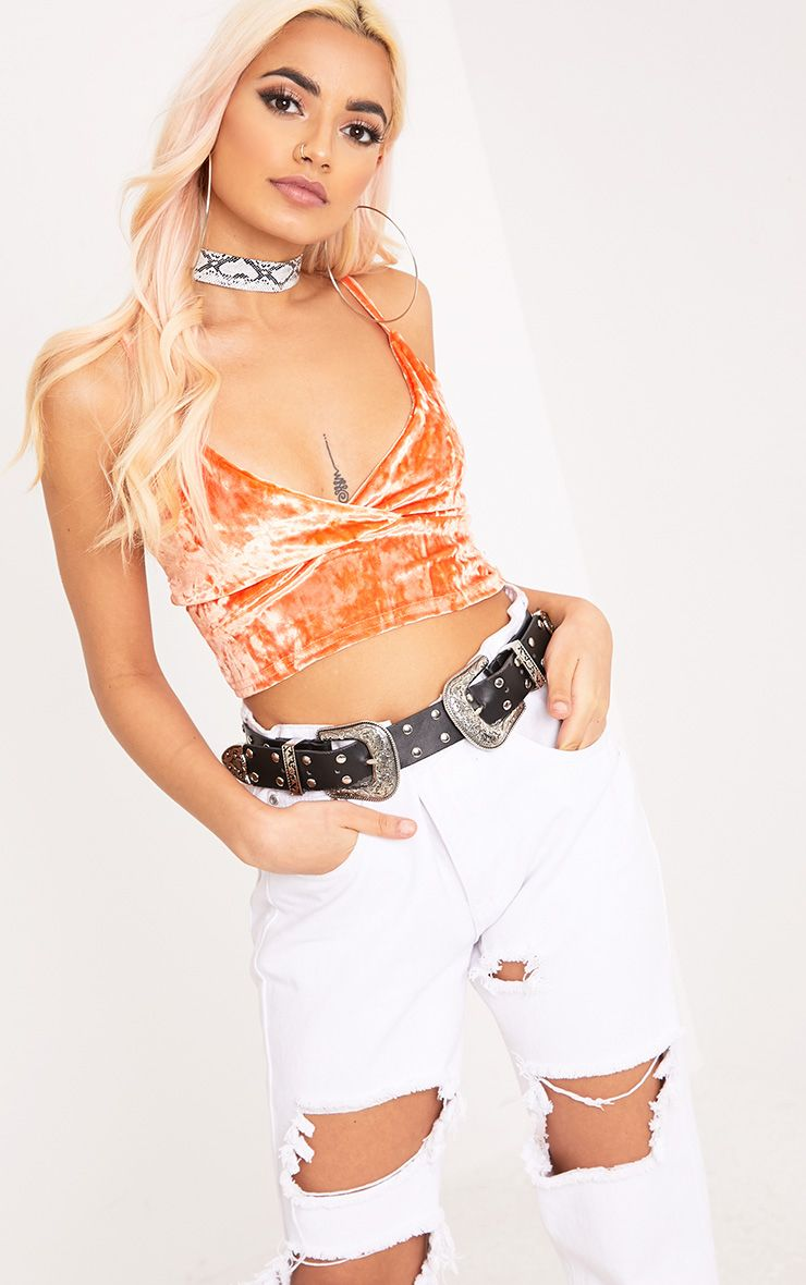 Debrah Orange Crushed Velvet Bralet 1