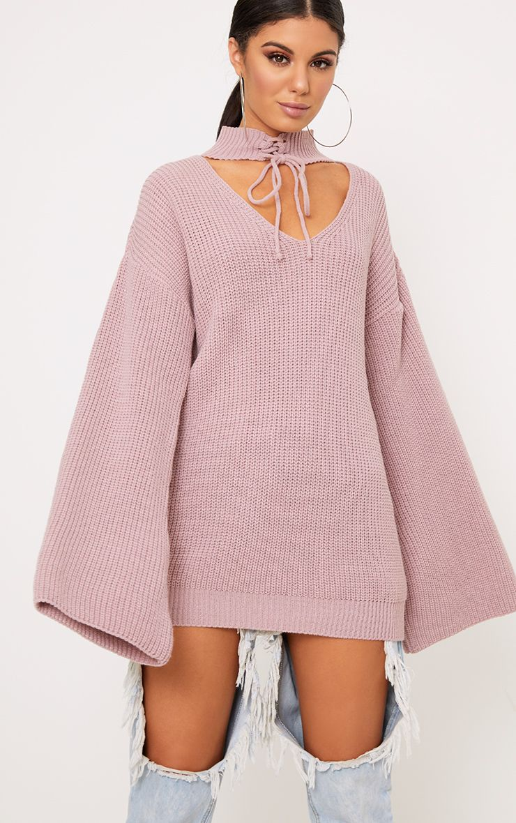 Jennah Blush Tie Choker Knit Jumper